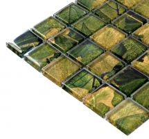 Mozaik pločice staklene zeleno smeđe